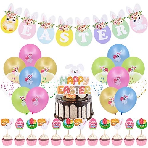 30 Pcs Easter Party Decoration Supplies,Happy Easter Bunny Banner Colorful Rabbit Balloon Cake Toppers Bunny and Egg Design Food Toothpicks for Home, Office, School Decor Photo Props