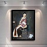 KWzEQ Dinastía Qing China Mujer Pintura al óleo Arte Mural sobre Lienzo Sala de Estar decoración del hogar,Pintura sin Marco,60x81cm