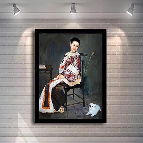 KWzEQ Ölgemälde-Kunstwandgemälde der chinesischen Qing-Dynastie-Frau auf Leinwand-Hauptdekoration des Wohnzimmers,Rahmenlose Malerei,30x40cm