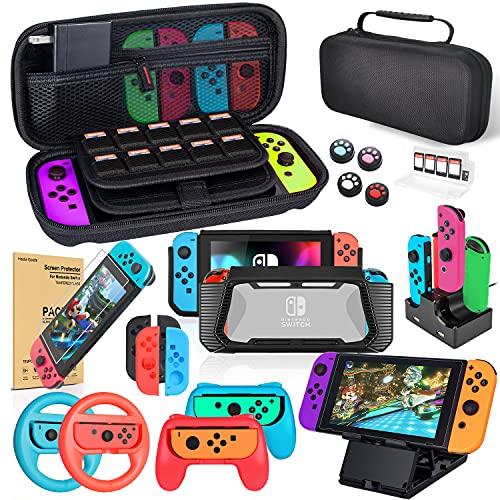 Kit de Accesorios 18 en 1para Nintendo Switch, con Protector de Pantalla, Soporte para Juegos, Tapa del Interruptor, Tapa del Joystick, protección para Joy-con Joystick
