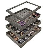 Dark Grey Set of 4 Stackable Sackcloth Jewelry Trays Set Jewelry Organizer with Clear Lid Jewelry Storage Display Trays for Drawer, Earring Necklace Bracelet Ring Organizer