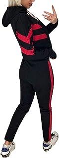 KAIXLIONLY Women's Sweatsuits,Stripe Jogging Tracksuits Hoodie and Sweatpants Color Block Sports Jumpsuit