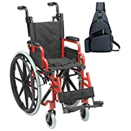 "Drive Wallaby Pediatric Folding Wheelchair, 12"", Fire Truck Red & Free Navy Blue Medical Utility Bag! - #WB1200-2GFR"