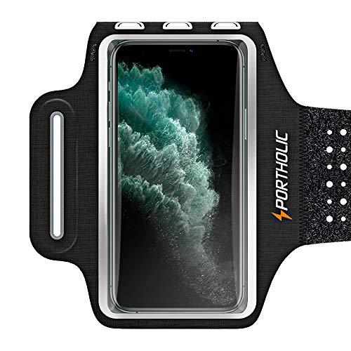 """PORTHOLIC Schweißfest Sport Armband für iPhone 11 Pro Max XR XS Max Galaxy A50 A40 Huawei P30 P20 Xiaomi, Verlängerungsband, Kartensteckplatz, für Handy Bis zu 6,7\"""", für Joggen Radfahren Wandern"""