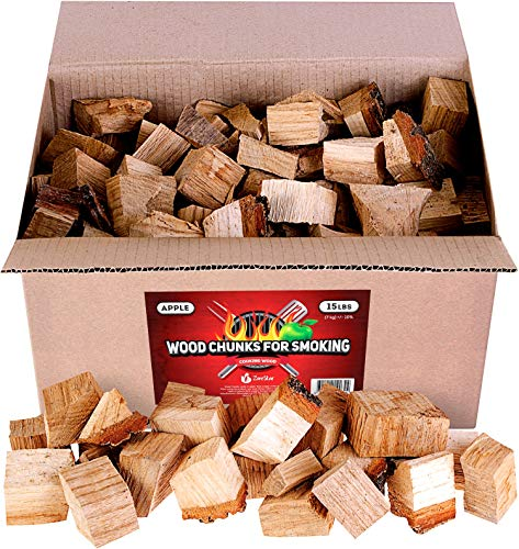 Zorestar Apple Wood Chunks for Smokers 15 lb - 100% Natural Smoking Wood for Grilling and Cooking - Size of Chunks 2-3''