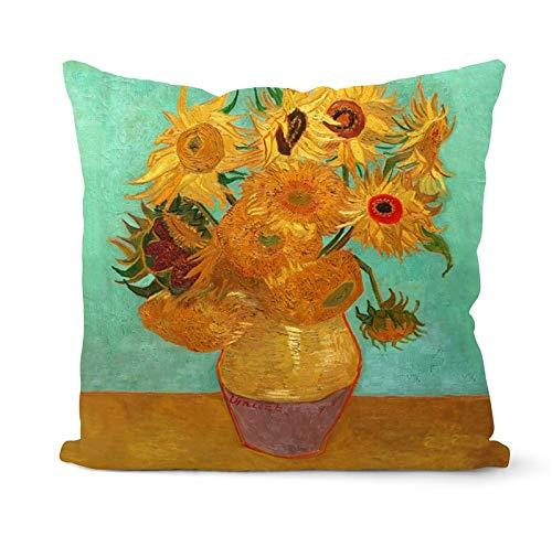 PPMP Van Gogh Pintura al óleo Funda de cojín sofá decoración del hogar Funda de Almohada Girasol autorretrato Cielo Estrellado Funda de Almohada Funda de cojín A16 45x45cm 2pc