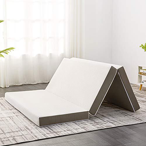 Inofia Folding Mattress, 4-Inch Queen Tri-fold Guest Mattress Memory Foam Foldable Bed with Washable Cover for Camping, Play, Reading, Road Trip