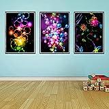 PLWCVERS Moderna fantasía Colorida Flor Burbuja magníficas Pinturas en Lienzo para Sala de Estar Carteles de Dormitorio Impresiones póster de Pared decoración del hogar / 40x60cmx3 (sin Marco)