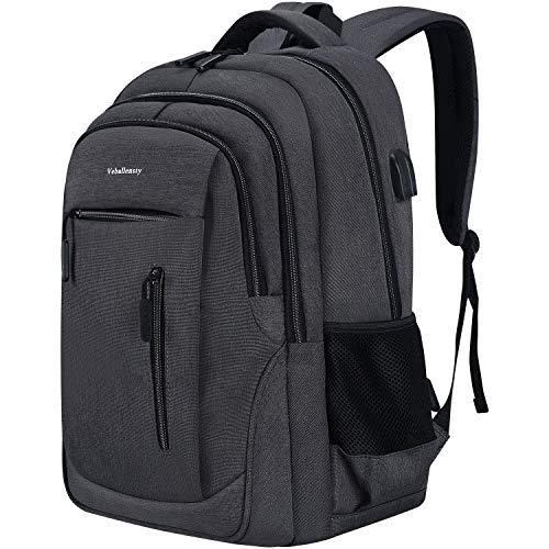 Laptop Backpack, Veballensty College School Computer Bookbag with USB Chargering/Headphone Port Fits 15.6 Inch Laptop or Notebook for Travel Outdoor Camping (Grey)