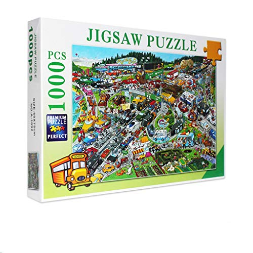 Allywit 1000 Pieces Jigsaw Puzzles for Adults Teens - Car City Games Micro Large Puzzle Game Artwork Educational Puzzles Creative Learning Games for Family Photo Frame Gifts (A)