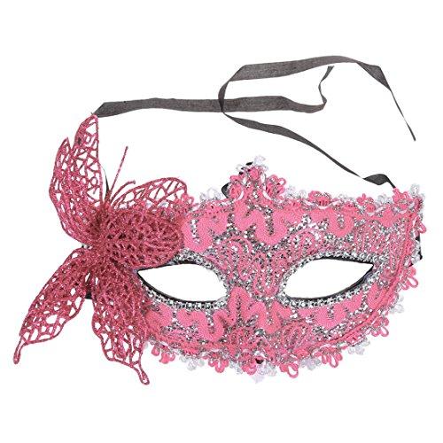 REFURBISHHOUSE Masque Dentelle Femmes Sexy Mascarade venitienne Carnaval de Boule de Partie, Visage, Oeil (Rose)
