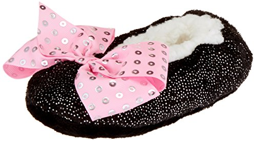 Jojo Siwa Girls' Big Slipper Socks, Black Pink Sequin Bow, S/M - Fits Shoe Size 8-13