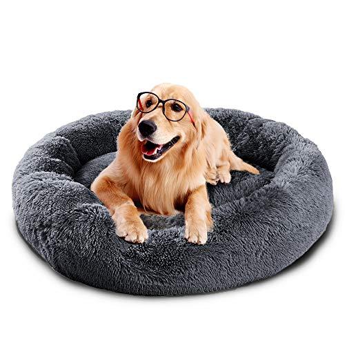 Fangqiyi Round Deluxe Haustierbett für Hunde und Katzen, mit Reißverschluss, leicht zu entfernen und zu waschen, Kissen für Katzen/Hunde, 60 cm-120 cm / 5 Größen, Dunkelgrau, 80 cm