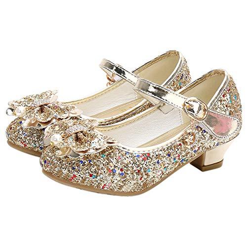 YOSICIL Mädchen Prinzessin Schuhe ELSA Schuhe mit Absatz Anhänger Kristall Schuhe Partei Glitzer Pumps Festliche Schuhe Karneval Party Fasching Kostüm Zubehör Schuhe