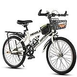 ZXCVB 20/22/24 Pulgadas Bicicleta De Montaña para Adultos Adultos Hardtail MTB Marco De Acero Al Carbono Freno En V Delantero Al Aire Libre Adecuado para 120-170 Cm,White-22inch