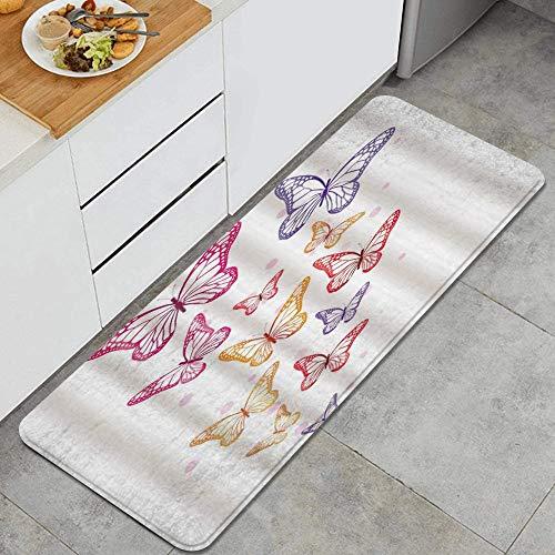 VINISATH Tappeti Cucina Antiscivolo Tappeti per Cucina Lavabile Tappetino Bagno Zerbino Tappeto Cucina Passatoia,Farfalla Fantasia Decorazione Carta Tagliata Farfalla
