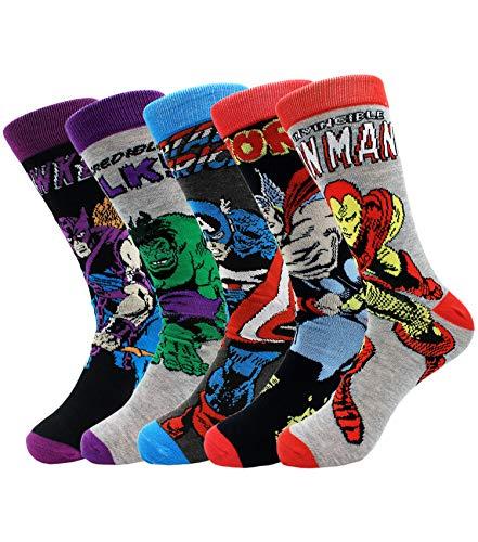 Lustige Herrensocken, 5 Paar, Marvel Socken, Fashion Comics Superhero Crew Socken Hochzeit Groomsmen's Socks 10-13