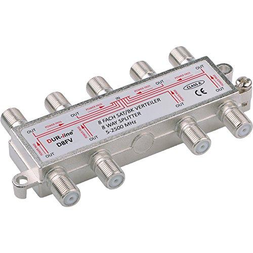 SAT & BK-Verteiler - 8-Fach Splitter - voll geschirmt - Unicable & HD tauglich [DUR-line D8FV - für Satelliten-Anlagen(DVB-S2) - BK - UKW Radio - DC-Durchlass - TV Antennen Fernseh Verteiler]