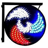 Redondo LED Barber Pole Light Lámpara de Pared Impermeable para Peluquería Barber Shop Letrero Giratorio Tiras Forma de Molino de Viento,Rbw,51 * 51CM Set Meal