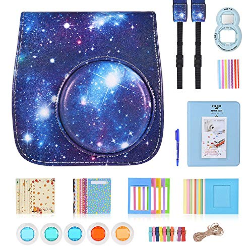 Instant Camera Accessories for Fujifilm Instax Mini 9 Camera - Instax Mini 8 Camera Case Galaxy/Film Album/Selfie Lens/Filter/Strap/Photo Frame/Stickers/Hanging Frames - 9 in 1, Galaxy