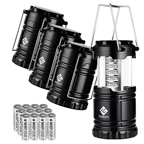 Etekcity 4 Pack Portable LED Camping Lantern with 12 AA Batteries - Survival Kit for Emergency, Hurricane, Power Outage (Black, Collapsible)