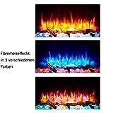 RICHEN Elektrokamin Alva - Elektrischer Wandkamin Mit Heizung, LED-Beleuchtung, 3D-Flammeneffekt & Fernbedienung - Weiß - 2
