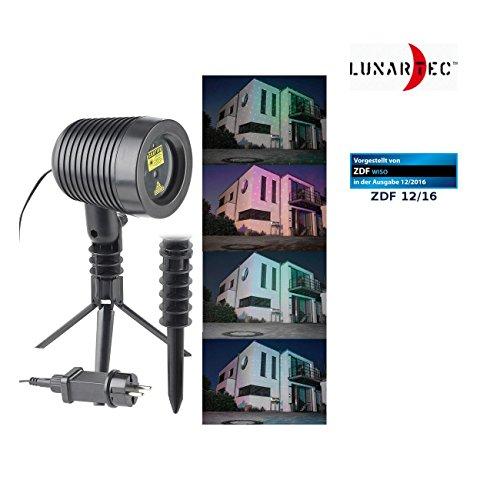 Lunartec Laser Projektor: Laserprojektor, bewegter Sternen-Regen-Lichteffekt, rot & grün, IP44 (Laser Projektor programmierbar)