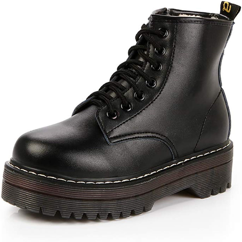 AmazingKnight British Short Boots Female Waterproof Women's Casual Martin Boots High Heel Side Zipper Boots