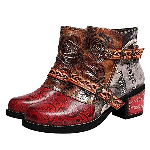 FFENYAN Fashion Women Retro Print Color Matching Boots Buckle Strap Chunky High Heel Footwear Round Toe Side Zipper Up Shoes Red