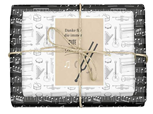 dabelino Papel de regalo 'Music' para músicos – Notas...