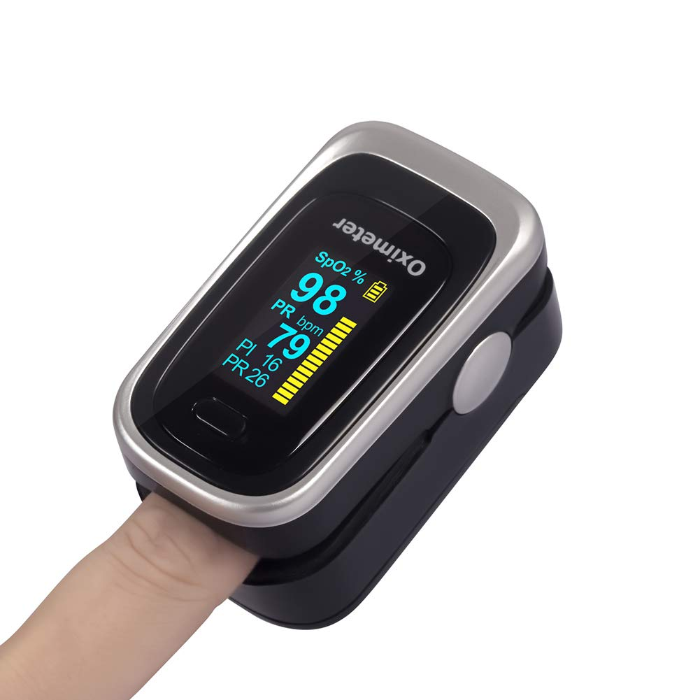 Finger Pulse Oximeter -Blood Oxygen Saturation - Athletic and Aviation Pulse Oximeters, Respiratory Rate, PI Sleep Monitor, Batteries and Lanyard (Respiratory Monitor - Silver + Black) : Health & Household