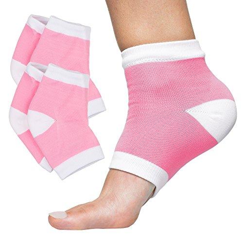 ZenToes Moisturizing Heel Socks 2 Pairs Gel Lined Toeless Spa Socks to Heal and Treat Dry, Cracked Heels While You Sleep (Regular, Cotton Pink)