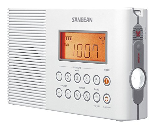 Sangean H201 Portable AM/FM/Weather Alert Digital Tuning Waterproof Shower Radio (Renewed)