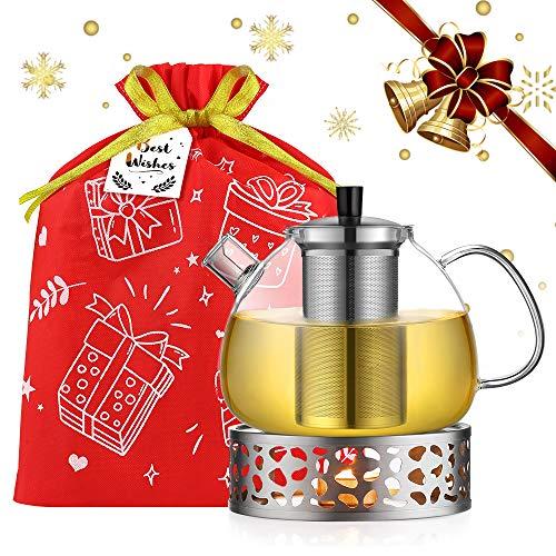 ecooe Tetera de 1.5L con calentador de tetera y bolsa de regalo, tetera de vidrio con infusor de acero inoxidable, calentador de tetera de acero inoxidable
