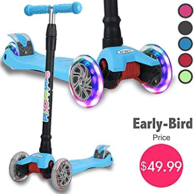 Kick Scooter for Kids, 4 Adjustable Height, Lean to Steer with PU Light Up Wheels, Training Balance Toys for Children from 2 to 14 Year-Old, Gifts for Child (Blue)