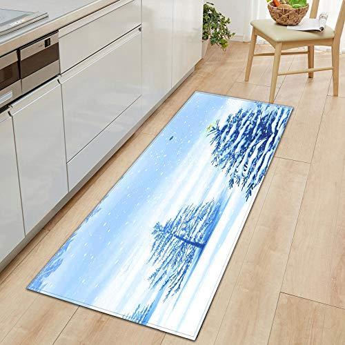 XIAOZHANG Rectangular Rug White snow scene Crystal velvet Floor Rugs Anti Skid Mats Living Room Bedroom Kitchen 40x120CM