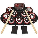 Electronic Drum Set - YUOIOYU Practice Drum Pad Roll Up Potable Drum Kit with Headphone Jack Built-in Speaker Drum...