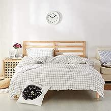 Travan 3-Piece Duvet Cover Set, 100% Washed Cotton Duvet Cover, Ultra Soft Comforter Cover, Grid Pattern Modern Style Bedding Set