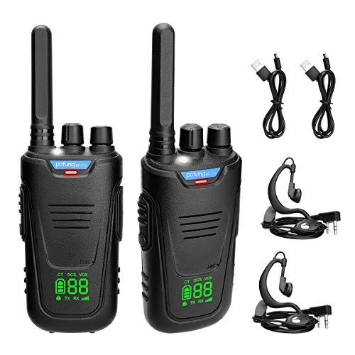 Pofung BF-T11 Walkie Talkies for Adults Long Range with Earpieces and LED Digital Display,FRS Channel VOX Hands Free Rechargeable Two Way Radios with Micro USB Charging Cable and Flashlight(2 Pack)