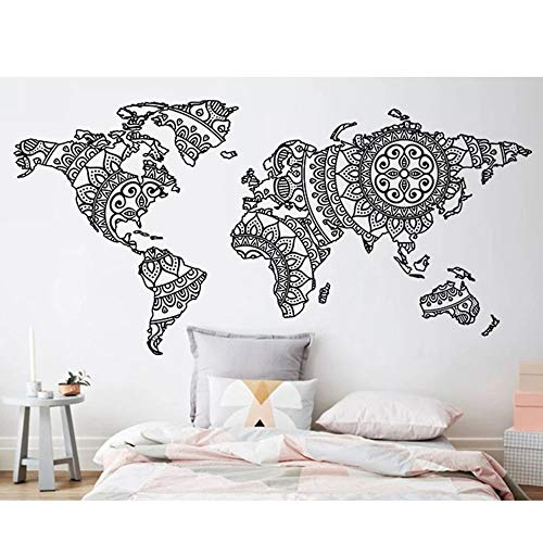 Mandala World Map Etiqueta de la pared Decoración del hogar Estudio Etiqueta de la pared Extraíble Wall Yoga Poster de pared