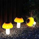 HHDM - Luces de suelo LED solares para césped con forma de seta para decoración de jardín al aire libre, luz de ahorro de energía, luz de emergencia, luz solar para exteriores, 3 piezas