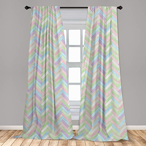 """Ambesonne Pastel Curtains, Soft Colored Realistic Parquet Wooden Floor Pattern Herringbone Country Home Print, Window Treatments 2 Panel Set for Living Room Bedroom Decor, 56"""" x 84"""", Multicolor"""