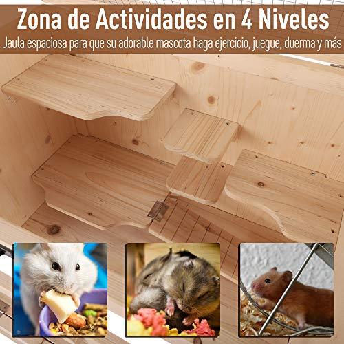 PawHut Jaula de Madera Tipo Casa Conejera para Hámster Ratones Animales Pequeños y Roedores con 5 Pisos 10 Plataformas y 3 Escaleras 60x40x120cm
