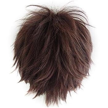 Alacos Unisex Cosplay Short Cut Straight Hair Wig Women Men Anime Party Dress Up Wigs Reddish Brown Wig+ Free Wig Cap