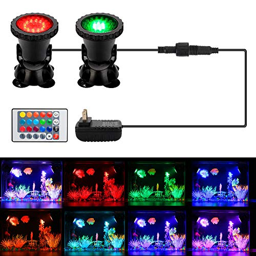 DOCEAN Pond Light, 36 LED IP68 Waterproof Underwater Submersible Spotlight with Remote, 4 Pack...