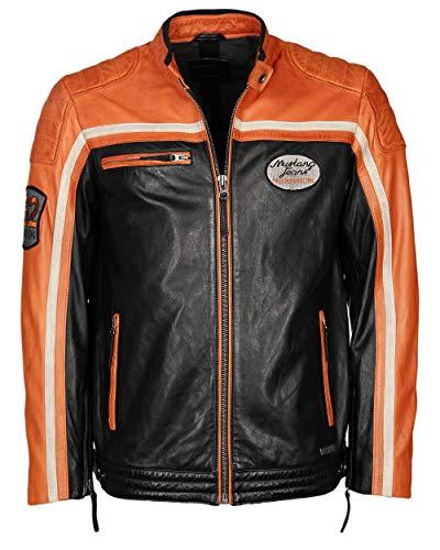 MUSTANG Herren Lederjacke Im Bikerstil Gunner 48 schwarz orange