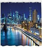 ABAKUHAUS Landschaft Duschvorhang, Ansicht von New York City, Digital auf Stoff Bedruckt inkl.12 Haken Farbfest Wasser Bakterie Resistent, 175 x 200 cm, Multicolor