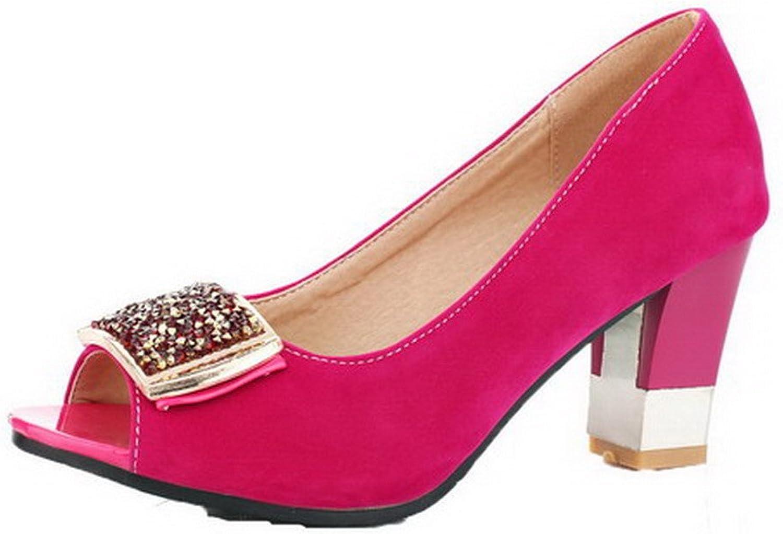 WeenFashion Women's Pull-On Peep Toe High-Heels Solid Sandals