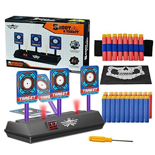 OFUN Elektronisches digitales Zielscheibe für Nerf, Shooting Target + 20 Gummi Darts + 1 * Armband + 1 * Bandanas Scarf, für Nerf N-Strike Elite/Mega/Rival Series