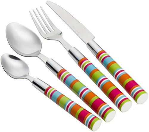 Flamefield Camper Smiles Stripe Cutlery Set | 16 Piece | Multicoloured Stripes